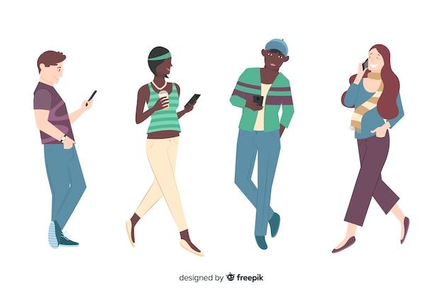 Junge leute, die smartphoneillustration halten