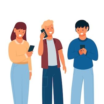 Junge leute, die smartphones benutzen