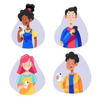 Junge leute, die smartphones benutzen Kostenlosen Vektoren