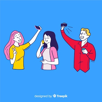 Junge leute, die smartphones in der koreanischen zeichnungsart halten