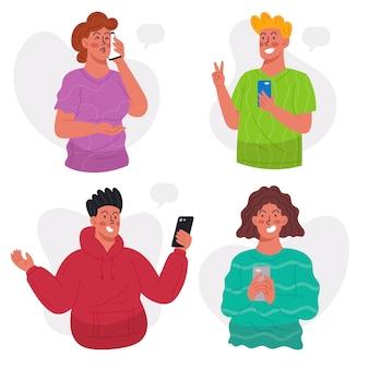 Junge leute, die smartphones packen
