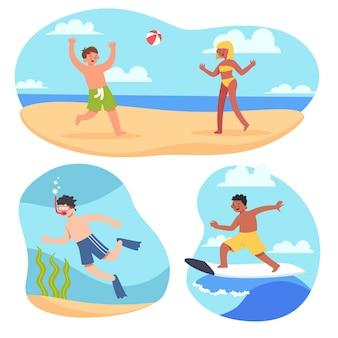 Junge leute, die sommersport betreiben