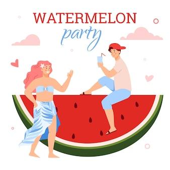 Junge leute, die sommerwassermelonenparty eine flache karikaturvektorillustration genießen