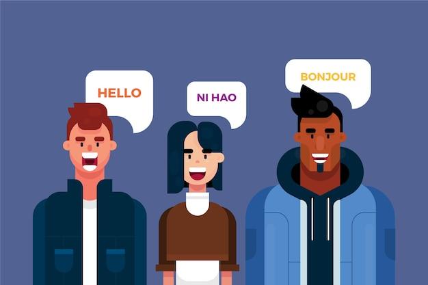 Junge leute, die verschiedene sprachen sprechen