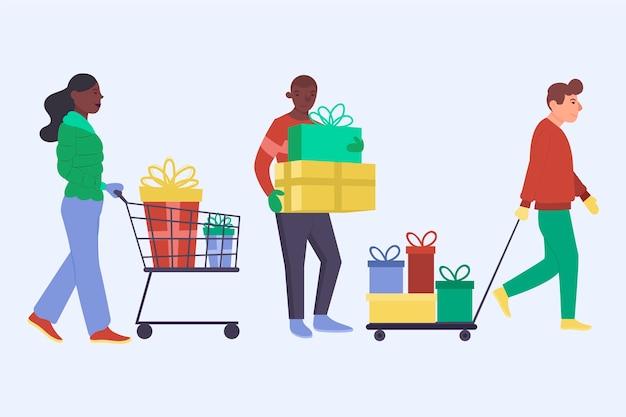 Junge leute, die weihnachtsgeschenke kaufen