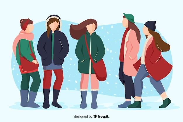 Junge leute draußen tragen winterkleidung
