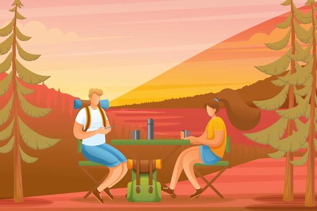Junge leute genießen den sonnenuntergang im wald, camping