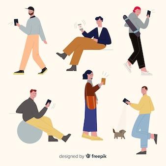 Junge leute halten ihre smartphones