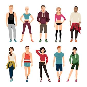 Junge leute in der sportkleidung vector illustration. sportoutfit für damen und herren