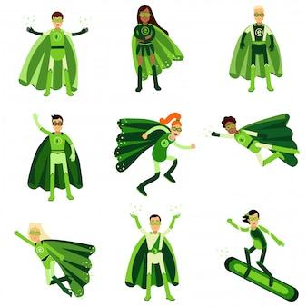 Junge leute in grünen öko-superhelden-kostümen gesetzt von