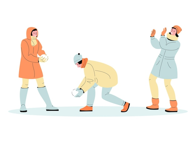 Junge leute kerl und mädchen spielen schneebälle lustige winterspiele set von vektor-illustrationen