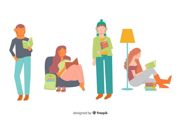 Junge leute lesen und entspannen