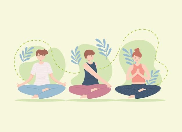 Junge leute machen yoga