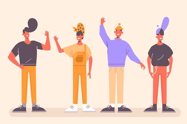 Junge leute mit erhobenen händen
