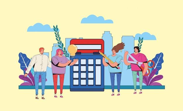 Junge leute mit finanzgeschäftsikonen-illustrationsdesign