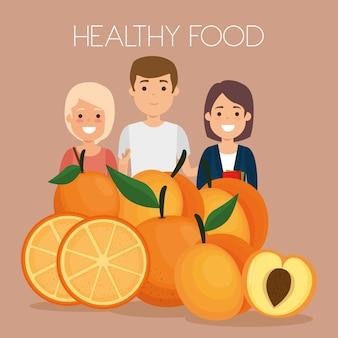 Junge leute mit gesunden lebensmitteln der früchte