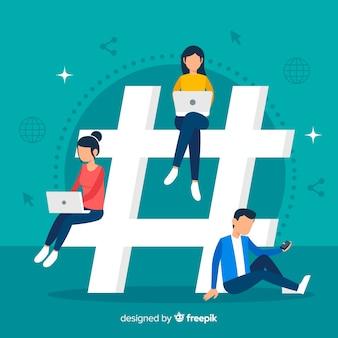 Junge leute mit hashtag-symbol