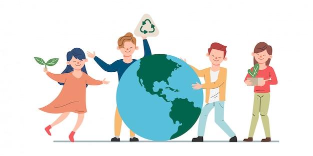 Junge leute retten den planeten, der konzept fördert. speichern sie welthintergrund-animationskarikatur.