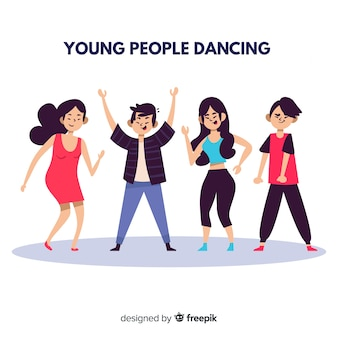 Junge leute tanzen. charakter-design