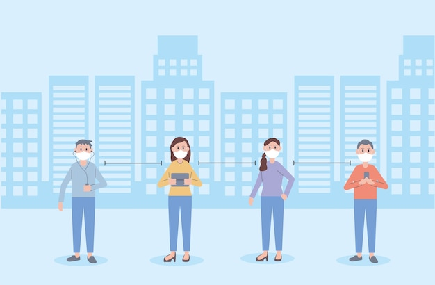 Junge leute tragen gesichtsmasken soziale distanz illustration design