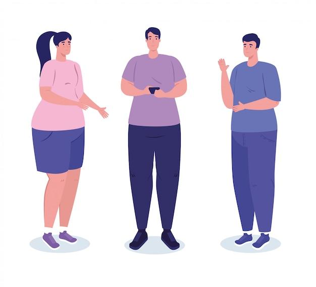 Junge leute, treffen sprechen und smartphone-gerät verwenden