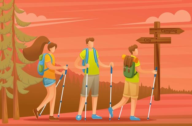Junge leute verbringen aktiv urlaub, nordic walking im wald bei sonnenuntergang