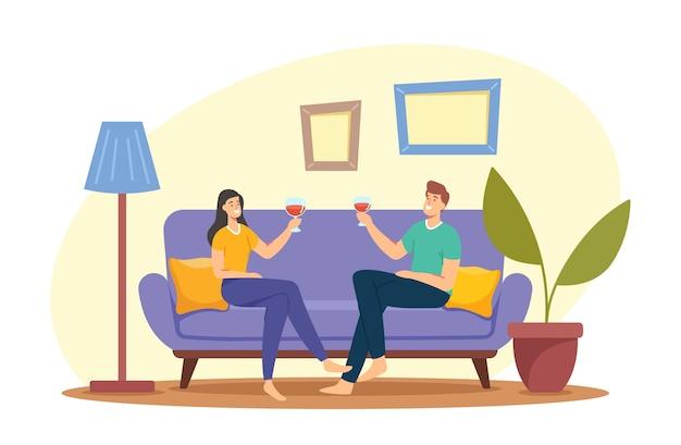 Junge liebespaar-charaktere verbringen zeit zu hause, sitzen auf der couch zusammen, plaudern, trinken wein am wochenendabend. liebe, flirt-freizeit, liebhabertreffen. cartoon-menschen-vektor-illustration