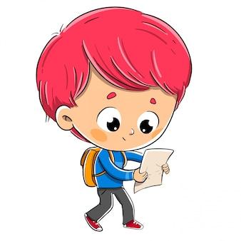 Junge liest eine karte nach den anweisungen