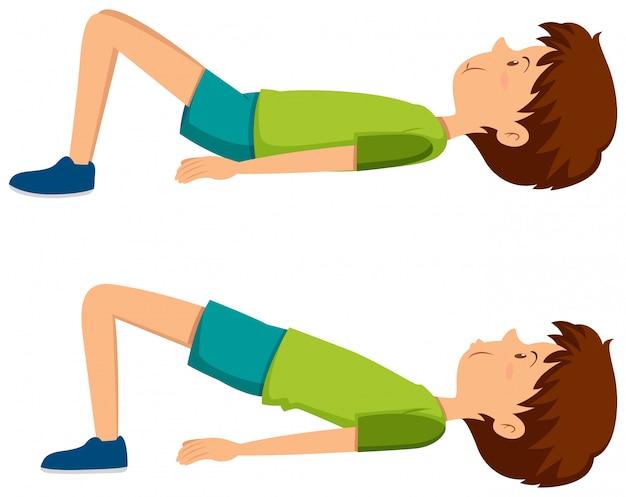 Junge macht hüfte übungen