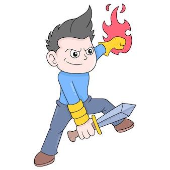Junge macht kampfsportbewegungen mit einem scharfen schwert, vektorillustrationskunst. doodle symbolbild kawaii.