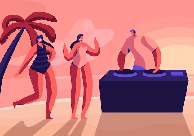 Junge mädchen, die badeanzüge und sonnenbrillen tragen, tanzen am meer am sommerzeitstrand. karikatur flache illustration