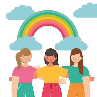 Junge mädchen, die draußen zwischen regenbogen und wolken genießen. illustration