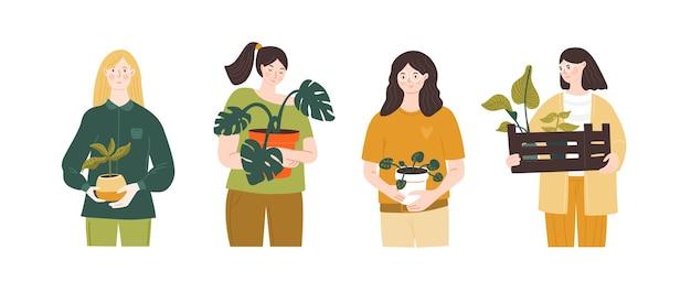 Junge mädchen, die pflanzen in töpfen halten urbane dschungelillustration hausgarten-shopping set von menschen