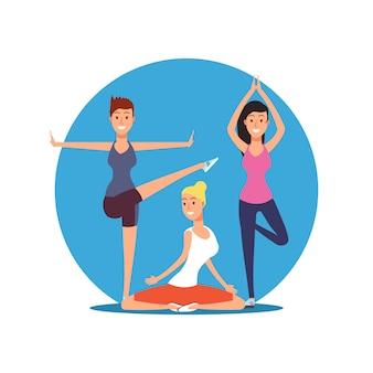 Junge mädchen, die yogaübungen tun.