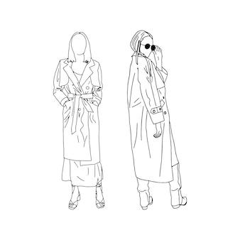 Junge mädchen posieren in trendigen trenchcoats, die in einem linearen stil gezeichnet sind. vektor-illustration.