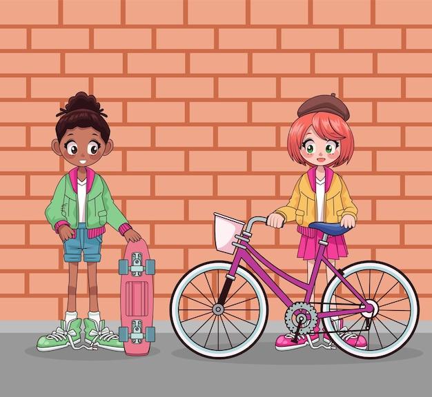 Junge mädchen zwischen verschiedenen rassen mit fahrrad- und skateboardcharakteren