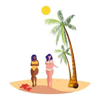 Junge mädchen zwischen verschiedenen rassen paar am strand sommerszene