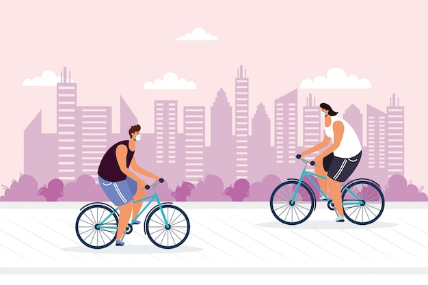 Junge männer, die fahrrad tragen, tragen medizinische maske