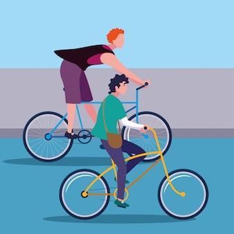 Junge männer, die fahrradavataracharakter reiten