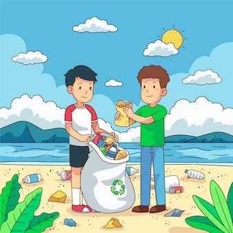 Junge männer, die plastikabfall auf ufergegend säubern