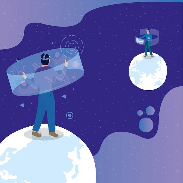 Junge männer, die virtuelle technologie der realität mit interaktiver anzeige verwenden