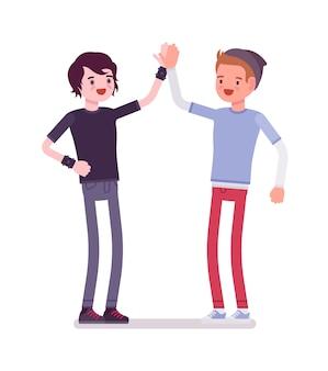 Junge männer geben high five