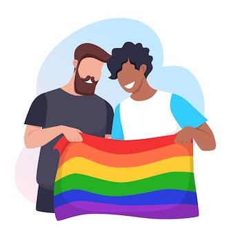 Junge männer halten eine regenbogen-lgbt-stolzflagge. konzept der rechte sexueller minderheiten. vektorillustration.