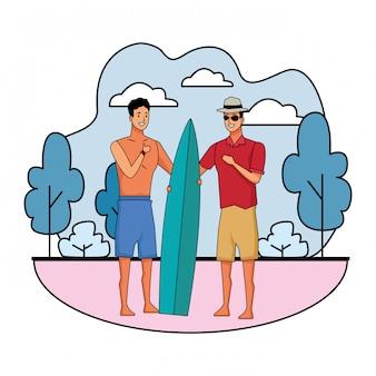 Junge männer in den sommerzeitkarikaturen