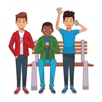 Junge männer karikatur