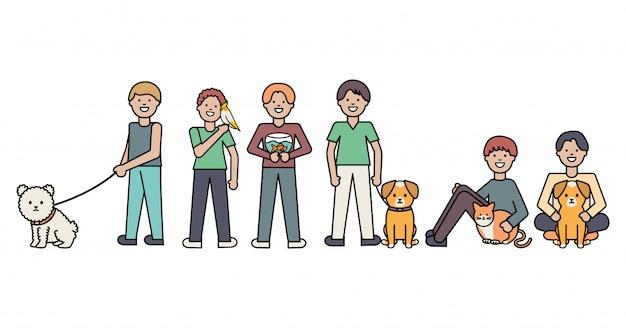 Junge männer mit entzückenden maskottchen des kleinen hundes und der katze