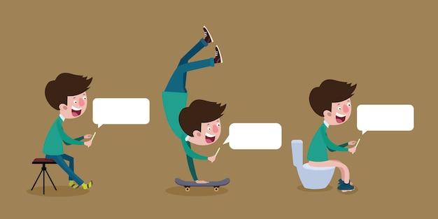 Junge männer spielen soziale netzwerke über mobiltelefone im alltag