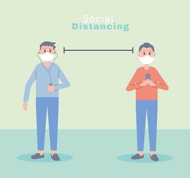 Junge männer tragen gesichtsmasken soziale distanz zeichen illustration design