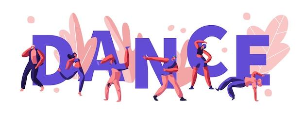 Junge männer und frauen charaktere tanzen und clubbing auf der disco party. karikatur flache illustration