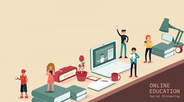 Junge männer und frauen mit smartphones und sms, sprechen, studentenstudium am computer, online-prüfung, fragebogen im internet, online-bildung, illustration